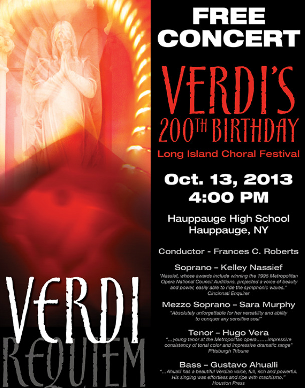 FREE Concert, Hauppauge, NY, Hauppauge High School, October 12 2013 4:00 pm VERDI REQUIEM